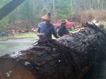 3)	Carver Doug LaFortune (Tsawout) at Saanichton. Then Wish Key (Rob Dennis Jr) and Cheryl Thomas blessing the log